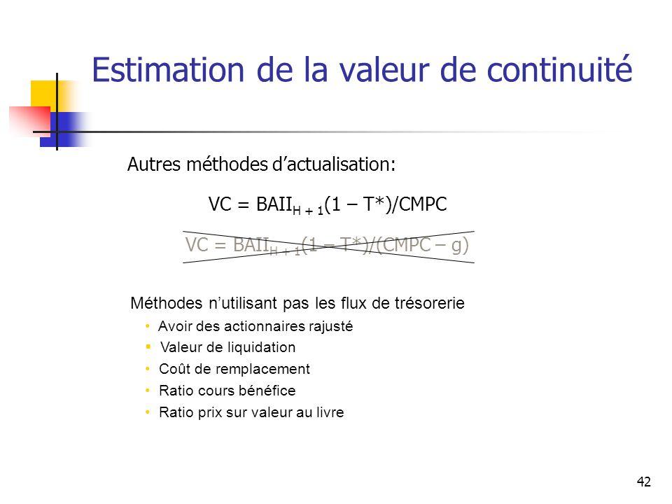 42 Estimation de la valeur de continuité Autres méthodes dactualisation: VC = BAII H + 1 (1 – T*)/CMPC VC = BAII H + 1 (1 – T*)/(CMPC – g) Méthodes nu