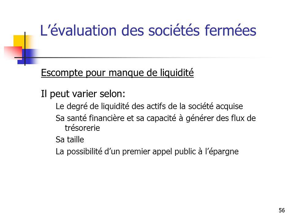 56 Lévaluation des sociétés fermées Escompte pour manque de liquidité Il peut varier selon: Le degré de liquidité des actifs de la société acquise Sa