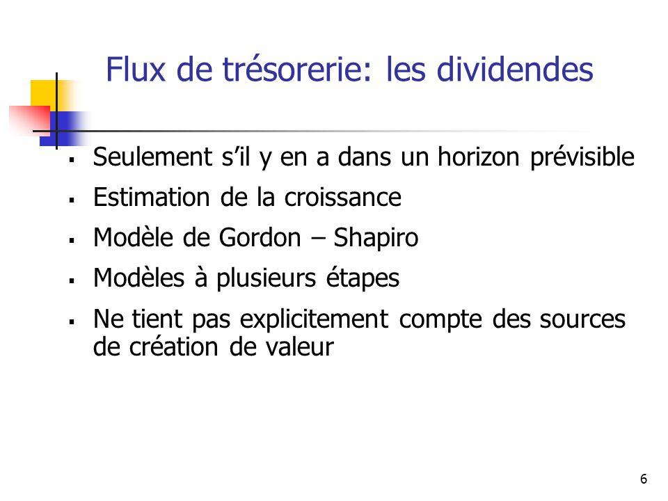 6 Flux de trésorerie: les dividendes Seulement sil y en a dans un horizon prévisible Estimation de la croissance Modèle de Gordon – Shapiro Modèles à