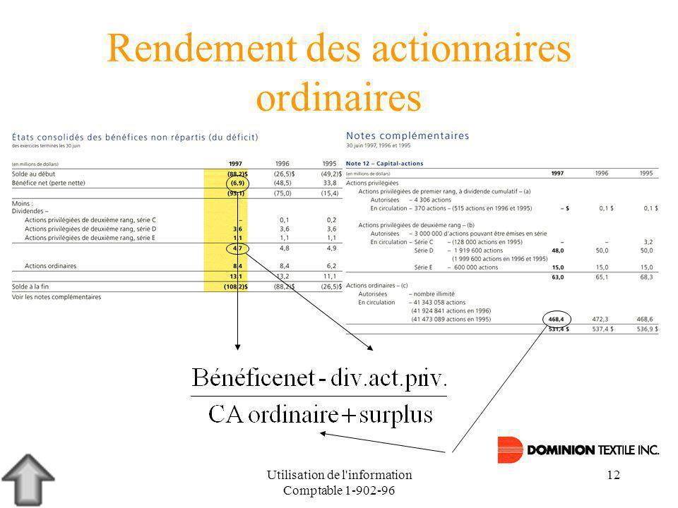 Utilisation de l information Comptable 1-902-96 12 Rendement des actionnaires ordinaires