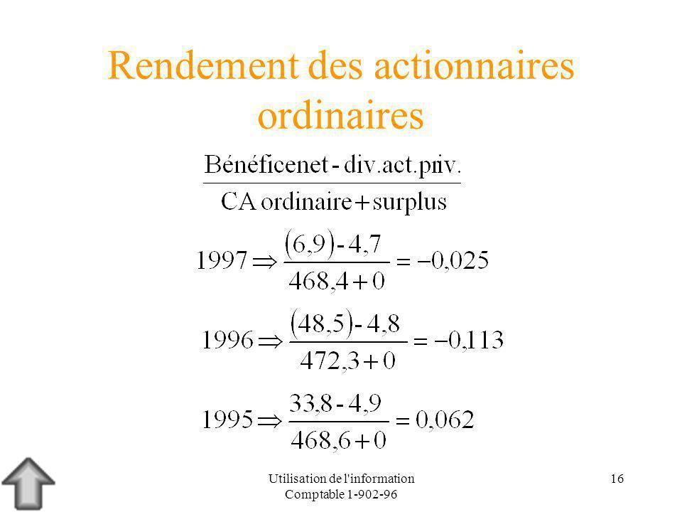 Utilisation de l information Comptable 1-902-96 16 Rendement des actionnaires ordinaires