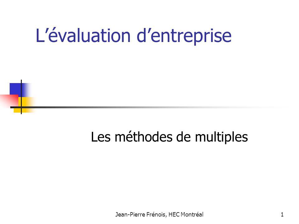 Jean-Pierre Frénois, HEC Montréal12 Ratio cours bénéfice: les variables fondamentales Une variante du modèle de Gordon: flux monétaires croissant à perpétuité.