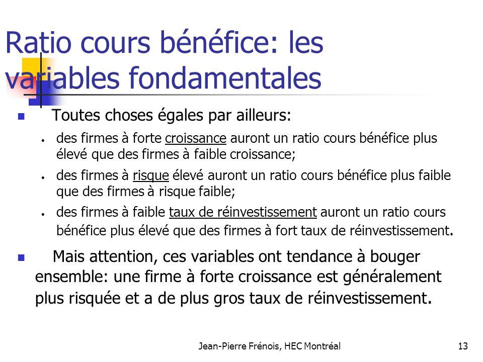Jean-Pierre Frénois, HEC Montréal13 Ratio cours bénéfice: les variables fondamentales Toutes choses égales par ailleurs: des firmes à forte croissance