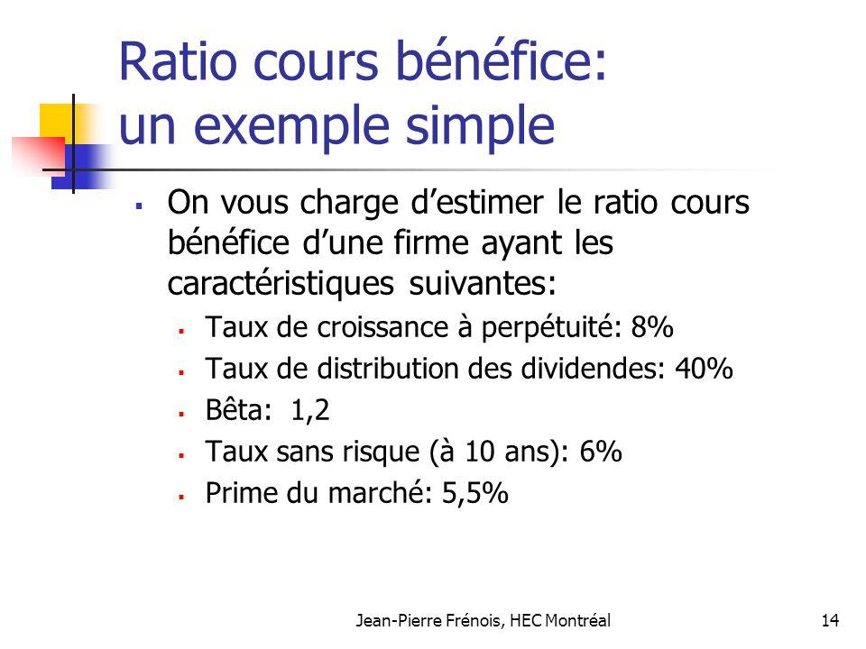 Jean-Pierre Frénois, HEC Montréal14 Ratio cours bénéfice: un exemple simple On vous charge destimer le ratio cours bénéfice dune firme ayant les carac