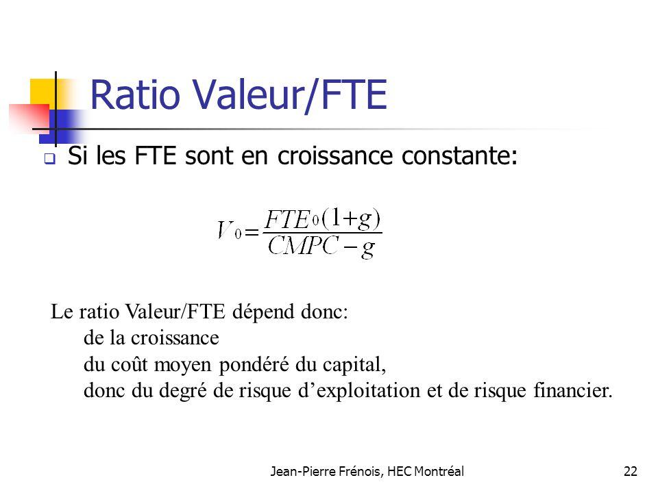 Jean-Pierre Frénois, HEC Montréal22 Ratio Valeur/FTE Si les FTE sont en croissance constante: Le ratio Valeur/FTE dépend donc: de la croissance du coû