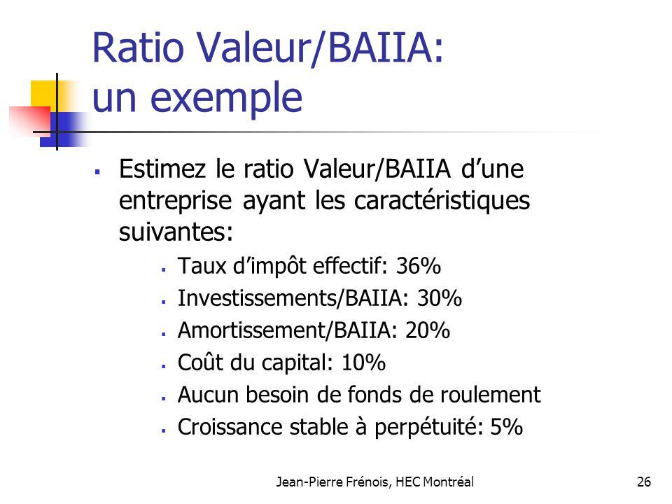 Jean-Pierre Frénois, HEC Montréal26 Ratio Valeur/BAIIA: un exemple Estimez le ratio Valeur/BAIIA dune entreprise ayant les caractéristiques suivantes: