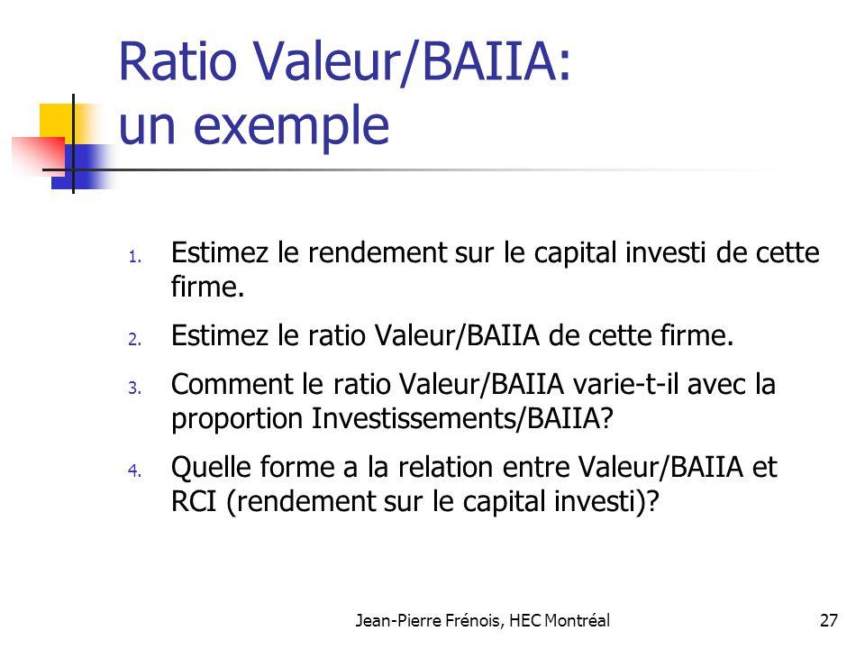 Jean-Pierre Frénois, HEC Montréal27 Ratio Valeur/BAIIA: un exemple 1. Estimez le rendement sur le capital investi de cette firme. 2. Estimez le ratio