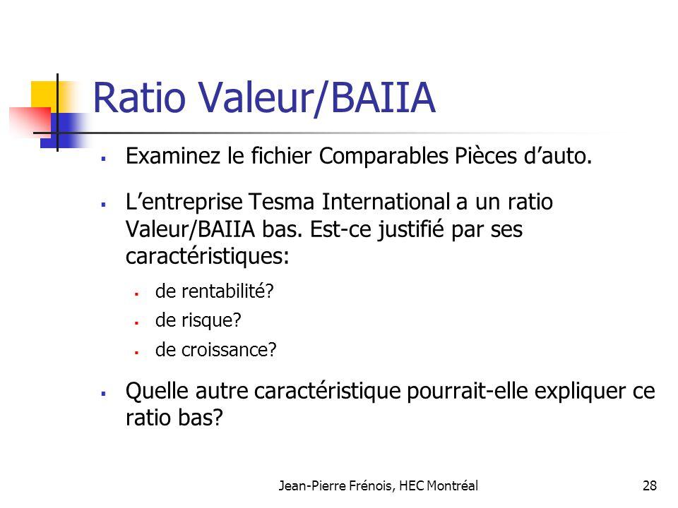 Jean-Pierre Frénois, HEC Montréal28 Ratio Valeur/BAIIA Examinez le fichier Comparables Pièces dauto. Lentreprise Tesma International a un ratio Valeur