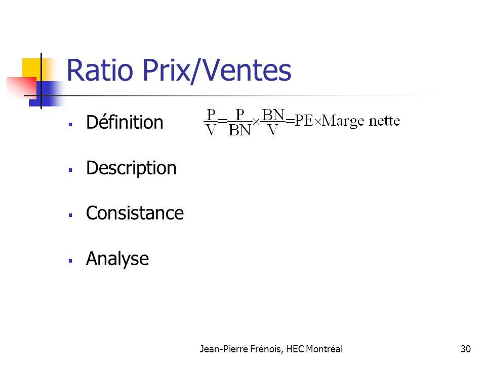 Jean-Pierre Frénois, HEC Montréal30 Ratio Prix/Ventes Définition Description Consistance Analyse