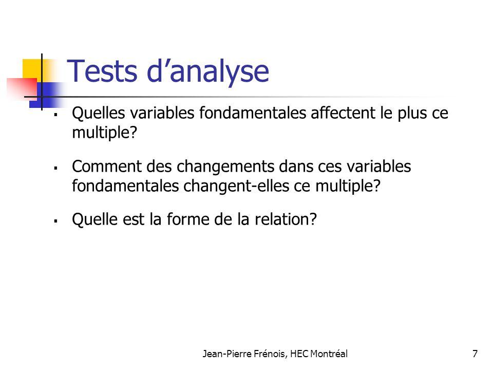 Jean-Pierre Frénois, HEC Montréal7 Tests danalyse Quelles variables fondamentales affectent le plus ce multiple? Comment des changements dans ces vari