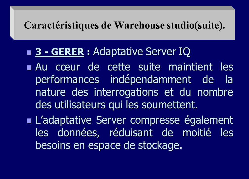 n 2 - INTEGRER : n Le Power Stage l un des éléments du Warehouse studio automatise l extraction, la transformation et le nettoyage des données issues