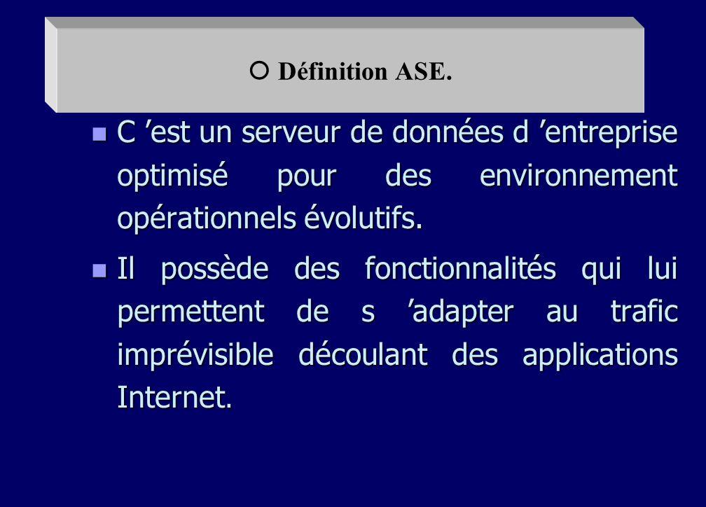 n Définition de L ASE n Différents composants de L ASE n Caractéristiques de Adaptative server entreprise. n - Réplication server n - Warehouse Studio