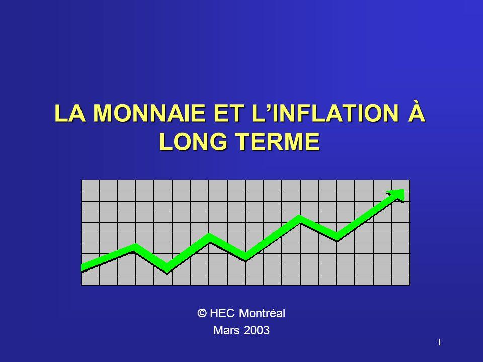 1 LA MONNAIE ET LINFLATION À LONG TERME © HEC Montréal Mars 2003
