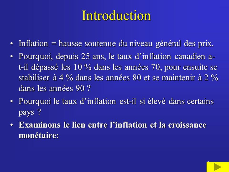 13 Relation étroite entre le taux dinflation et la croissance monétaire ajustée pour la croissance économique tendancielle au Canada (1982-2001) -2 0 2 4 6 8 10 12 82848688909294969800 M2 ajustée pour la croissance tendancielle du PIB réel Taux d inflation mesuré selon l IPC (1992=100)