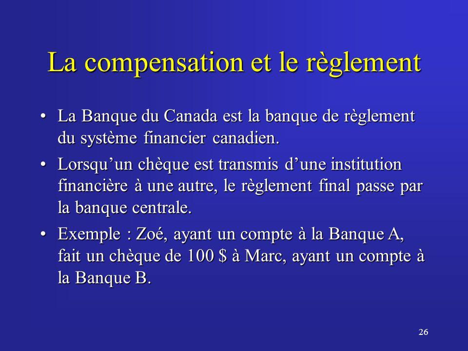 26 La compensation et le règlement La Banque du Canada est la banque de règlement du système financier canadien.La Banque du Canada est la banque de règlement du système financier canadien.
