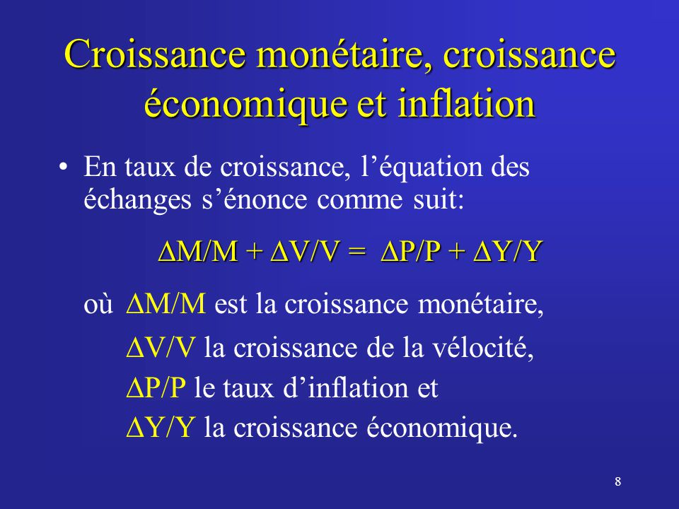 8 Croissance monétaire, croissance économique et inflation En taux de croissance, léquation des échanges sénonce comme suit: M/M + V/V = P/P + Y/Y M/M + V/V = P/P + Y/Y où M/M est la croissance monétaire, V/V la croissance de la vélocité, P/P le taux dinflation et Y/Y la croissance économique.