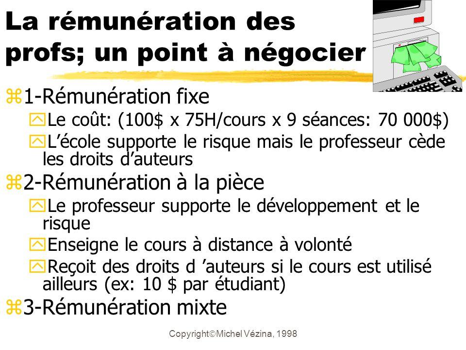 Copyright Michel Vézina, 1998 Que vaut un cours de 45 heures .