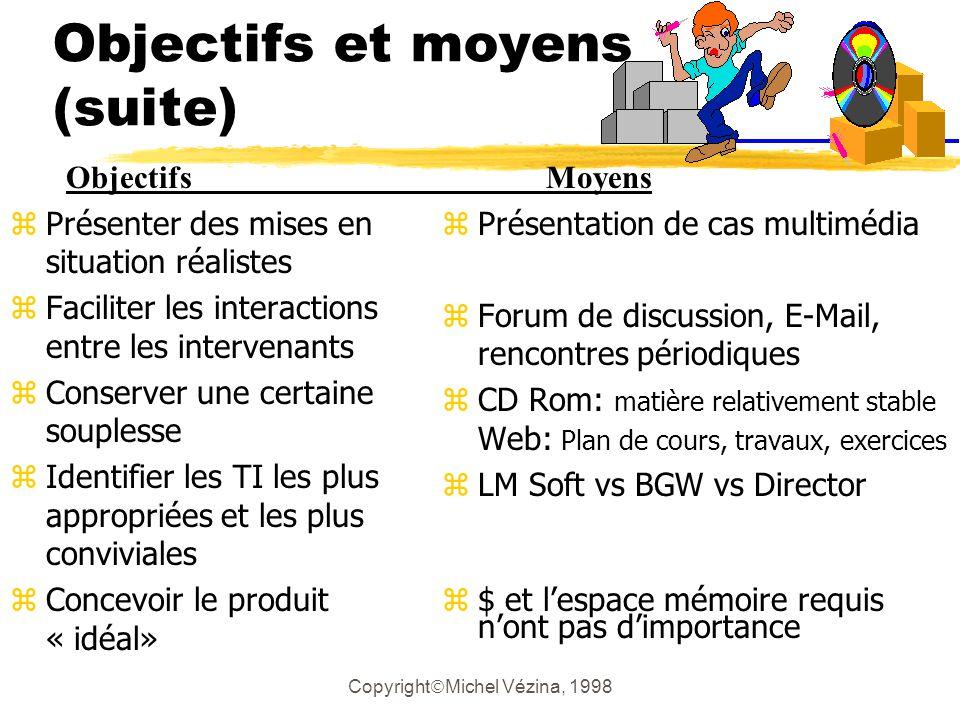 Copyright Michel Vézina, 1998 Fin de la présentation zMerci de votre attention !