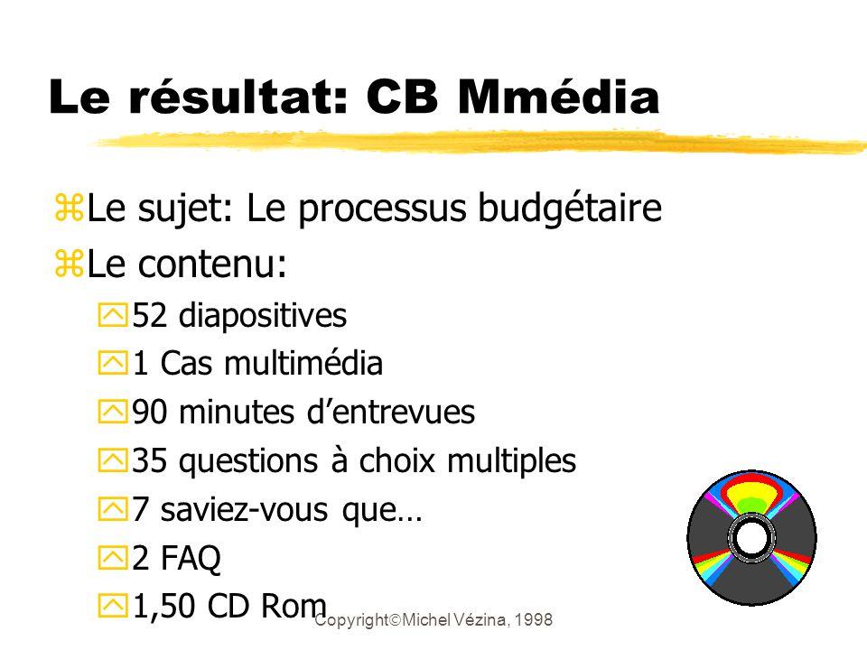 Copyright Michel Vézina, 1998 Le résultat: CB Mmédia zLe sujet: Le processus budgétaire zLe contenu: y52 diapositives y1 Cas multimédia y90 minutes dentrevues y35 questions à choix multiples y7 saviez-vous que… y2 FAQ y1,50 CD Rom