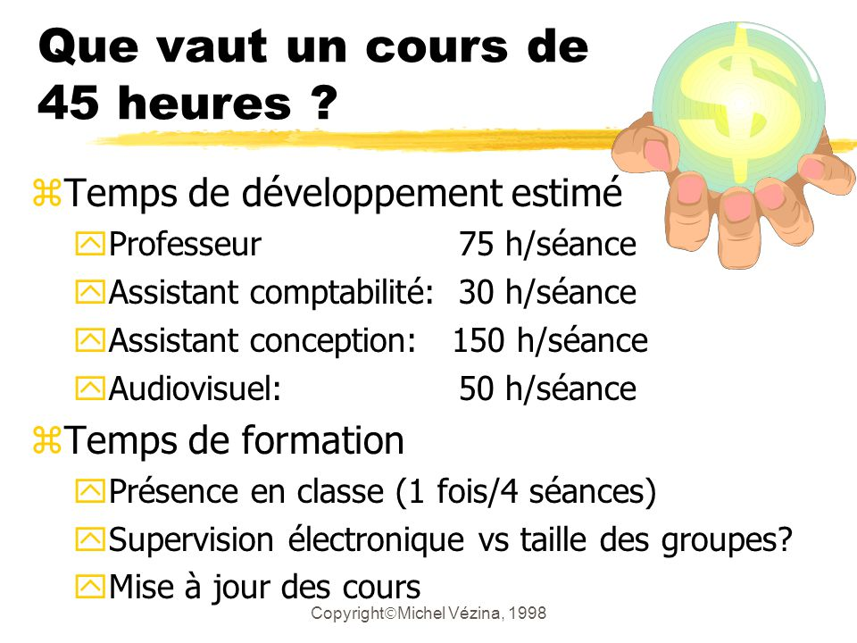 Copyright Michel Vézina, 1998 Le temps et le coût de développement