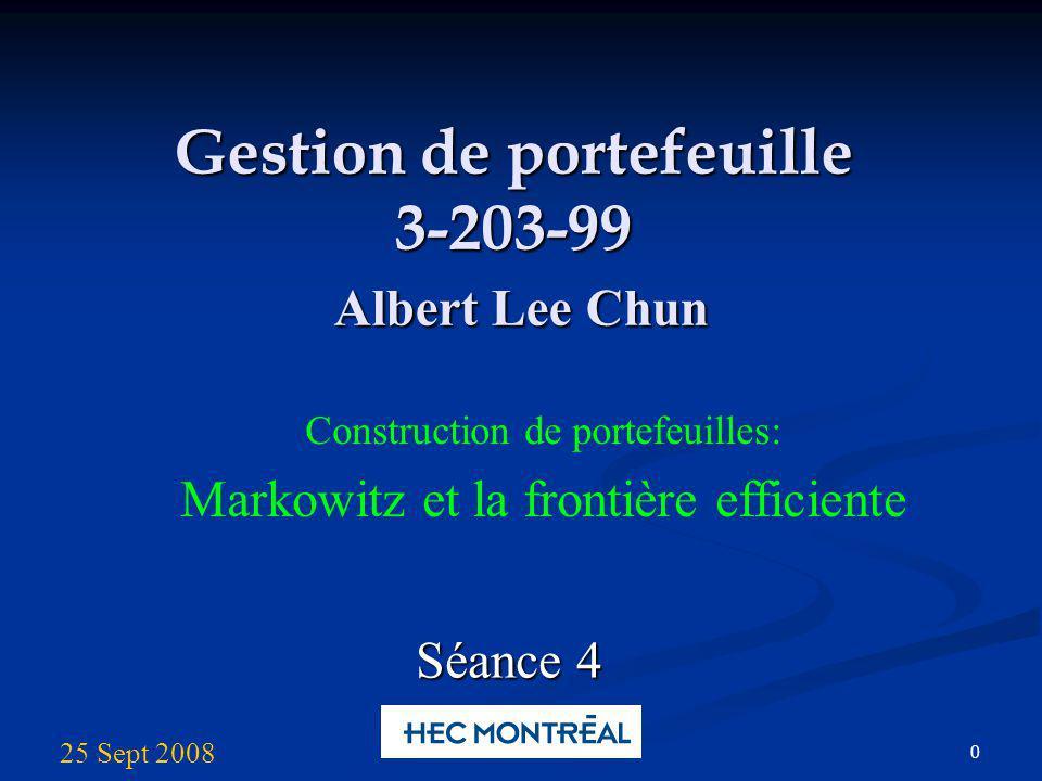 Albert Lee Chun Portfolio Management 11 Un univers avec 2 titres risqués et 1 titre sans risque