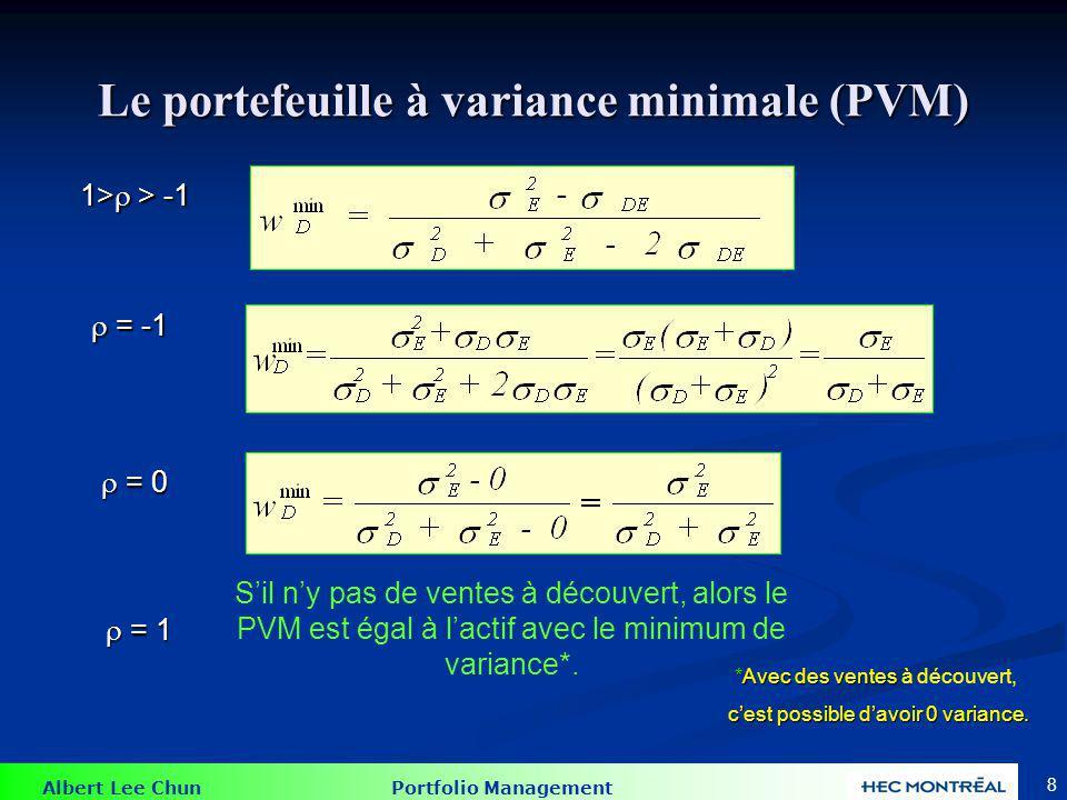 Albert Lee Chun Portfolio Management 19 Le problème de Markowitz II Le problème de Markowitz II Soumis à la contrainte de: Le minimum de variance avec la contrainte du rendement du portefeuille égalera le niveau de rendement cible.