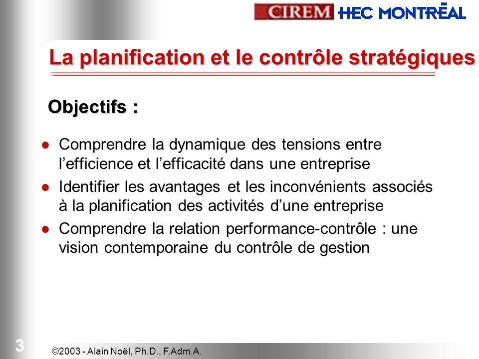 3 La planification et le contrôle stratégiques Comprendre la dynamique des tensions entre lefficience et lefficacité dans une entreprise Identifier le