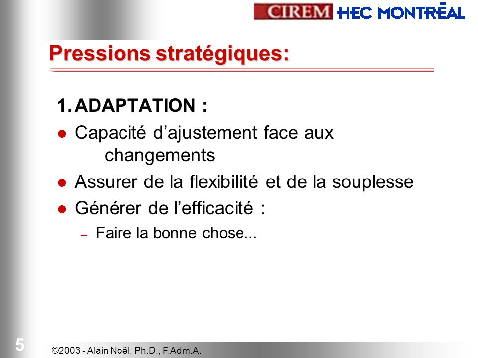 ©2003 - Alain Noël, Ph.D., F.Adm.A. 5 Pressions stratégiques: 1.ADAPTATION : Capacité dajustement face aux changements Assurer de la flexibilité et de