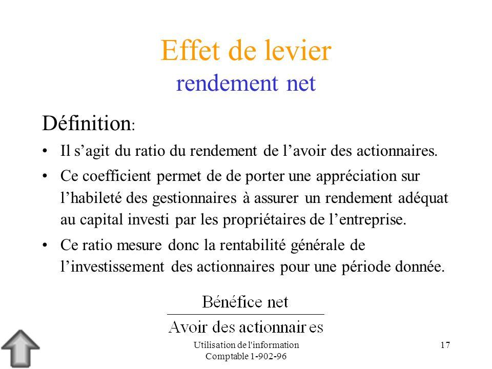 Utilisation de l'information Comptable 1-902-96 17 Effet de levier rendement net Définition : Il sagit du ratio du rendement de lavoir des actionnaire