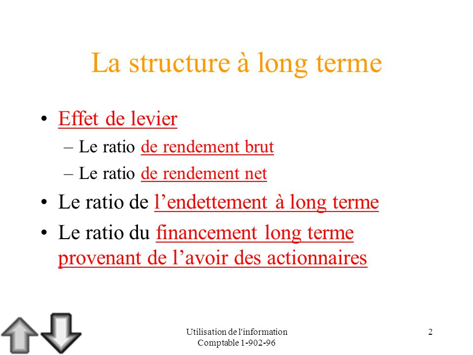 Utilisation de l'information Comptable 1-902-96 2 La structure à long terme Effet de levier –Le ratio de rendement brutde rendement brut –Le ratio de