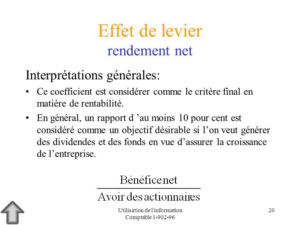 Utilisation de l'information Comptable 1-902-96 20 Effet de levier rendement net Interprétations générales: Ce coefficient est considérer comme le cri