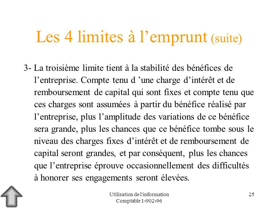 Utilisation de l'information Comptable 1-902-96 25 Les 4 limites à lemprunt (suite) 3- La troisième limite tient à la stabilité des bénéfices de lentr