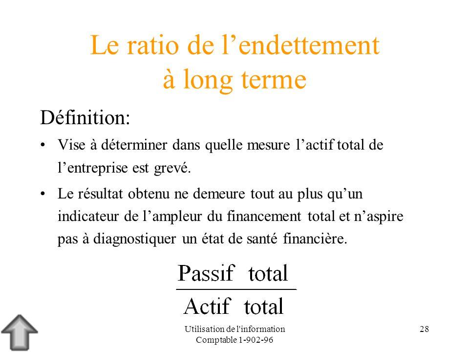 Utilisation de l'information Comptable 1-902-96 28 Le ratio de lendettement à long terme Définition: Vise à déterminer dans quelle mesure lactif total