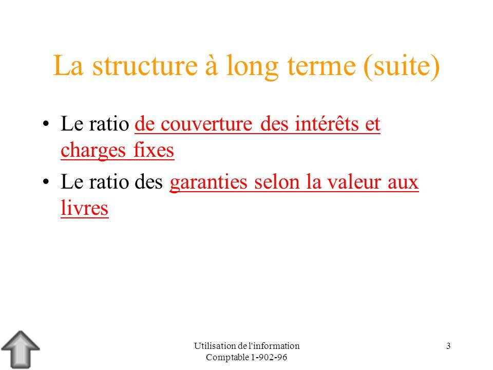 Utilisation de l'information Comptable 1-902-96 3 La structure à long terme (suite) Le ratio de couverture des intérêts et charges fixesde couverture