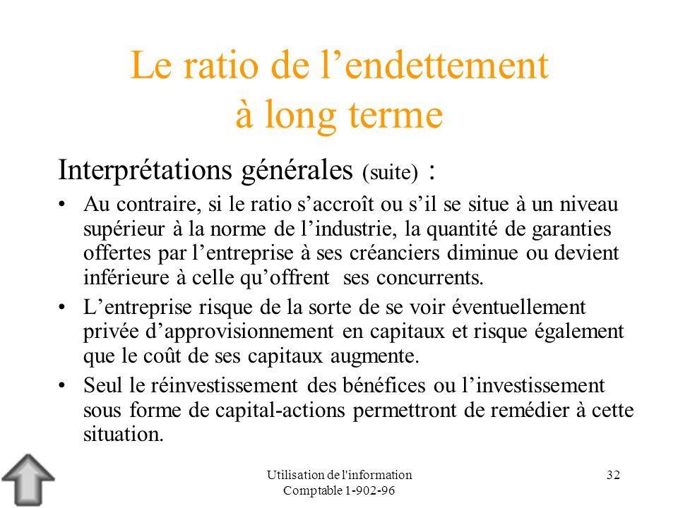 Utilisation de l'information Comptable 1-902-96 32 Le ratio de lendettement à long terme Interprétations générales (suite) : Au contraire, si le ratio