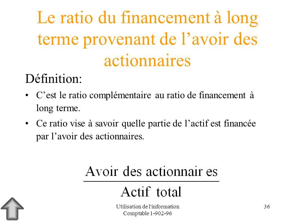 Utilisation de l'information Comptable 1-902-96 36 Le ratio du financement à long terme provenant de lavoir des actionnaires Définition: Cest le ratio