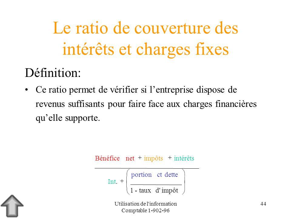 Utilisation de l'information Comptable 1-902-96 44 Le ratio de couverture des intérêts et charges fixes Définition: Ce ratio permet de vérifier si len