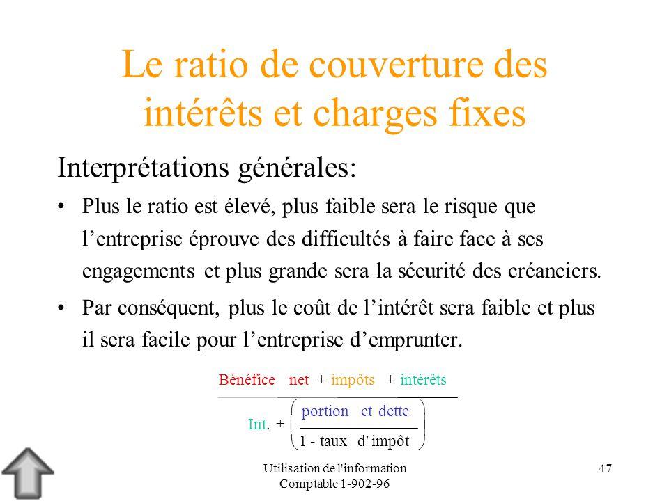 Utilisation de l'information Comptable 1-902-96 47 Le ratio de couverture des intérêts et charges fixes Interprétations générales: Plus le ratio est é