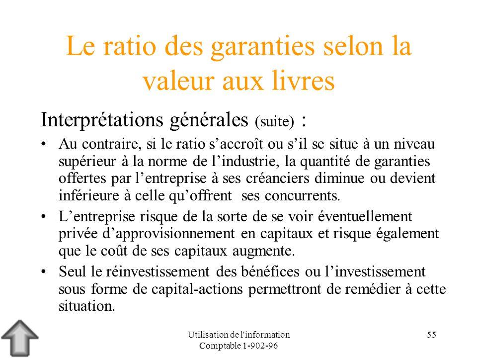 Utilisation de l'information Comptable 1-902-96 55 Le ratio des garanties selon la valeur aux livres Interprétations générales (suite) : Au contraire,