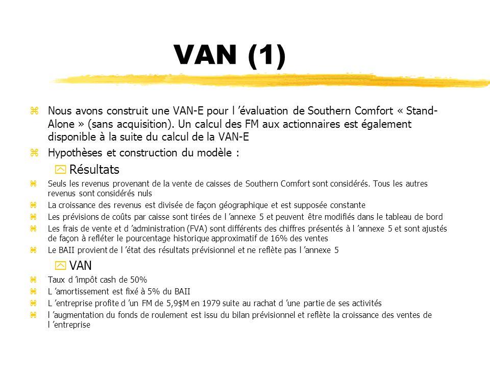 VAN (1) zNous avons construit une VAN-E pour l évaluation de Southern Comfort « Stand- Alone » (sans acquisition). Un calcul des FM aux actionnaires e