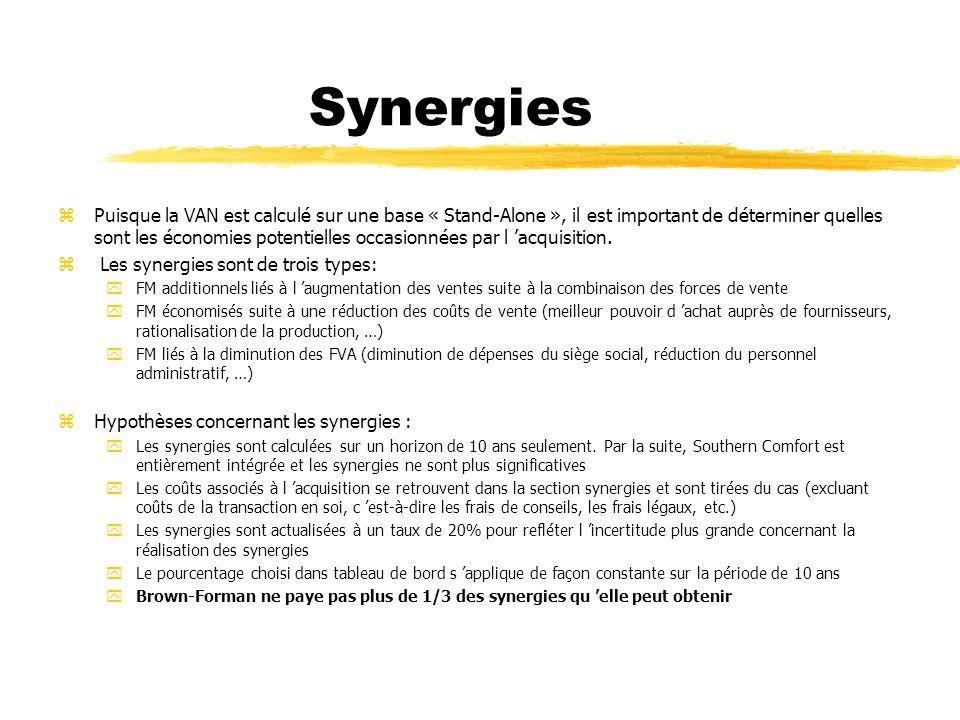 Synergies zPuisque la VAN est calculé sur une base « Stand-Alone », il est important de déterminer quelles sont les économies potentielles occasionnée