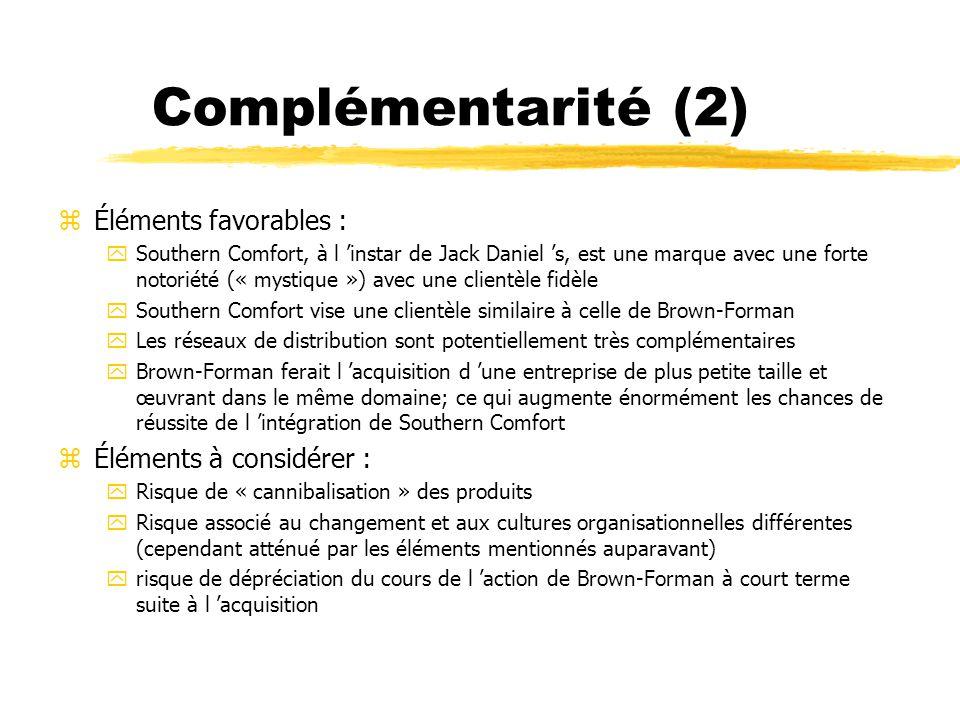 Complémentarité (3) zConclusion : Aller de l avant dans l analyse parce que Southern Comfort représente une acquisition qui viendrait renforcer les activités centrales de Brown-Forman (core activities) de façon brillante!