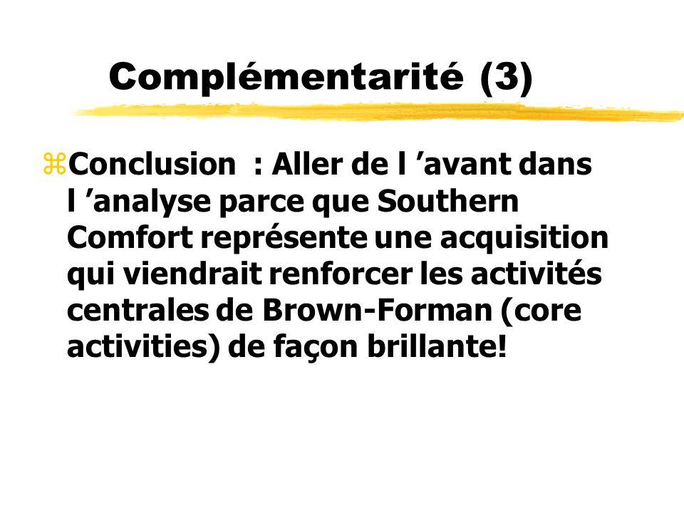 Complémentarité (3) zConclusion : Aller de l avant dans l analyse parce que Southern Comfort représente une acquisition qui viendrait renforcer les ac