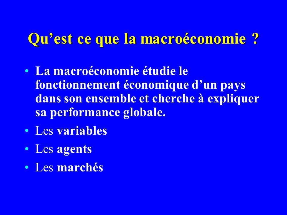 Quest ce que la macroéconomie ? La macroéconomie étudie le fonctionnement économique dun pays dans son ensemble et cherche à expliquer sa performance