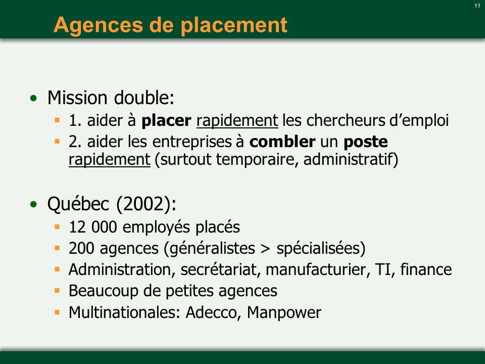 11 Agences de placement Mission double: 1. aider à placer rapidement les chercheurs demploi 2. aider les entreprises à combler un poste rapidement (su