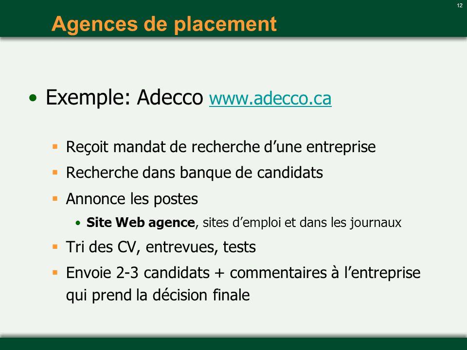 12 Agences de placement Exemple: Adecco www.adecco.ca www.adecco.ca Reçoit mandat de recherche dune entreprise Recherche dans banque de candidats Anno