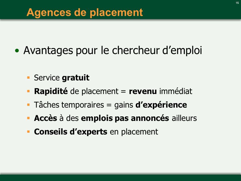 15 Agences de placement Avantages pour le chercheur demploi Service gratuit Rapidité de placement = revenu immédiat Tâches temporaires = gains dexpéri