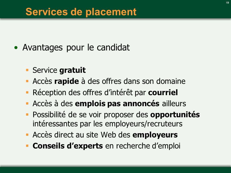 19 Services de placement Avantages pour le candidat Service gratuit Accès rapide à des offres dans son domaine Réception des offres dintérêt par courr