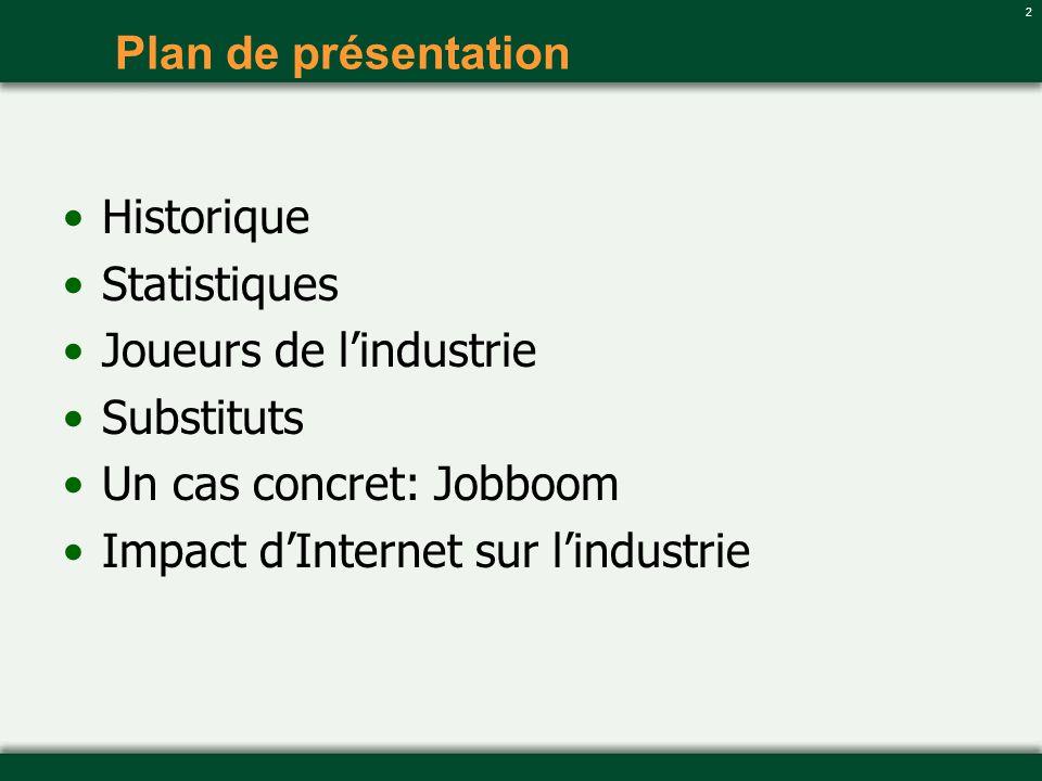 2 Plan de présentation Historique Statistiques Joueurs de lindustrie Substituts Un cas concret: Jobboom Impact dInternet sur lindustrie
