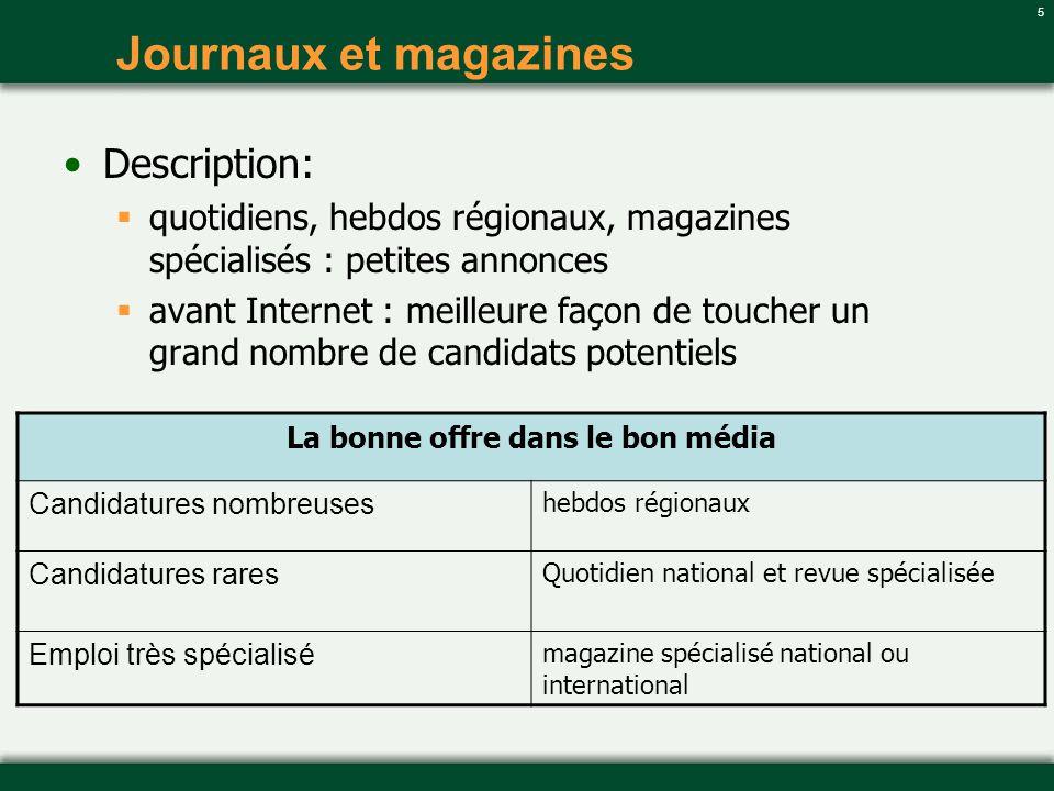 5 Journaux et magazines Description: quotidiens, hebdos régionaux, magazines spécialisés : petites annonces avant Internet : meilleure façon de touche